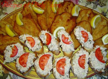 Fried Whiting Fillets with Tuna Crostini Photo