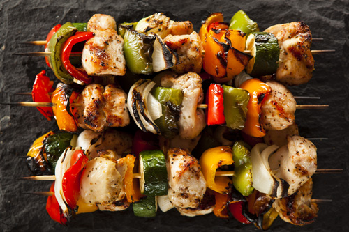 Grilled Chicken and Vegetable Skewers Photo