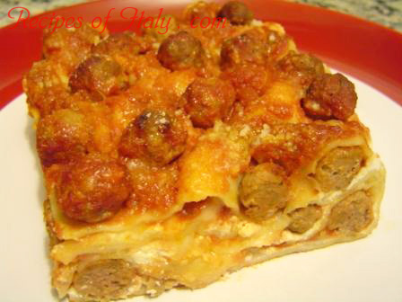 Lasagna with Small Meat Balls Photo