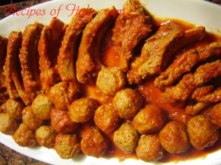 Meat Balls and Pork Ribs in Tomato Sauce Photo