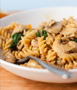 Pasta with Sausage, Mushrooms and Spinach Photo
