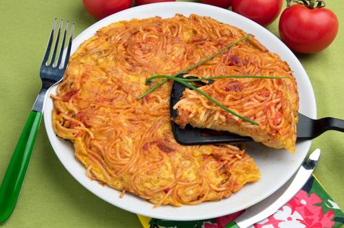 italian pasta frittata recipes dishmaps baked spaghetti frittata ...