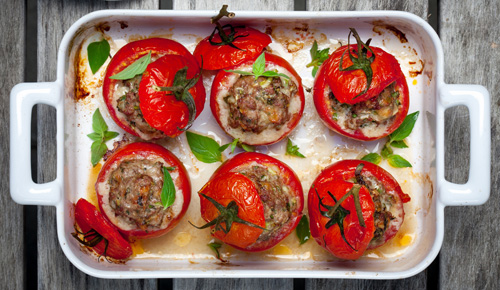 Stuffed Tomatoes with Sausage and Provolone Cheese Photo